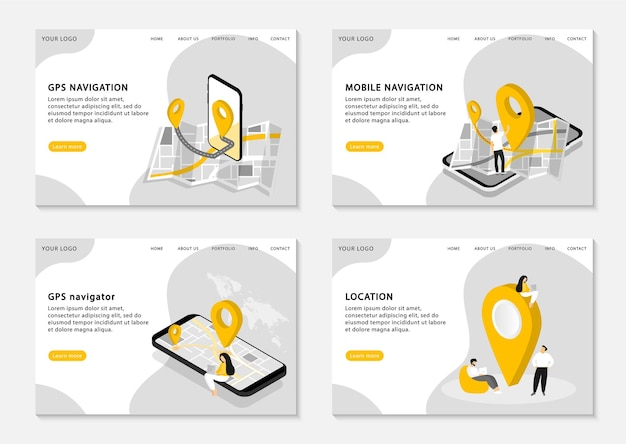 Páginas de aterrizaje de navegación gps. navegación móvil, navegador gps, ubicación. aplicación móvil para navegación. conjunto de páginas web. .