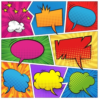 Páginas de cómics con coloridas burbujas de discurso en blanco