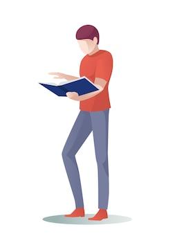 Páginas de desplazamiento de man reader, saltar sobre libro de papel