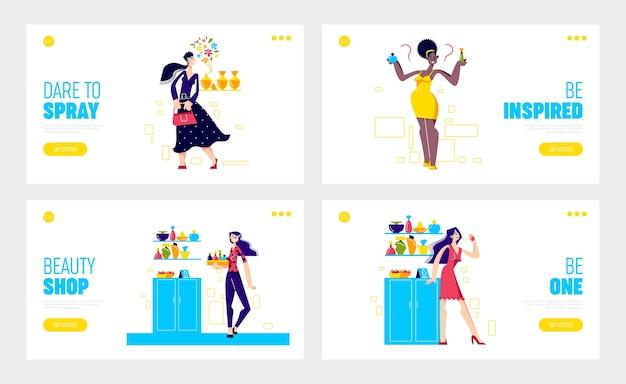 Páginas de inicio de tiendas de perfumes y cosméticos con mujeres que eligen un nuevo aroma fragante.