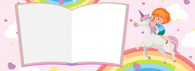 Páginas del libro en blanco y niña montando unicornio con arco iris sobre fondo rosa