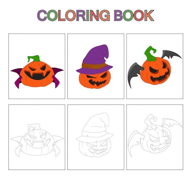 Páginas de libros para colorear para niños. dibujos animados de calabaza