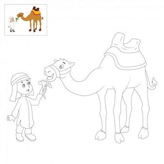 Páginas de libros para colorear para niños. dibujos animados de camellos