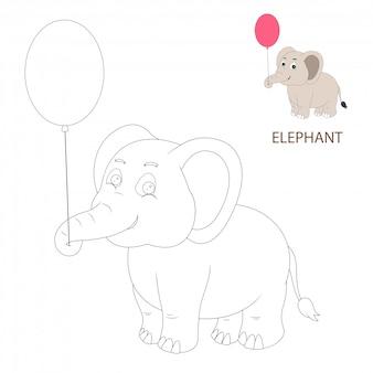Páginas de libros para colorear para niños. dibujos animados de elefante