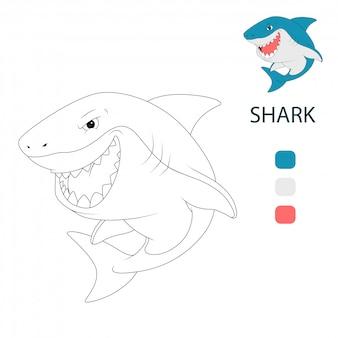 Páginas de libros para colorear para niños. dibujos animados de tiburones