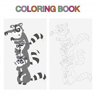 Páginas de libros para colorear para niños. mapaches de dibujos animados