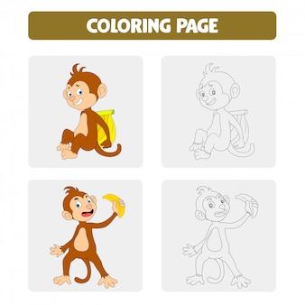 Páginas de libros para colorear para niños. mono de dibujos animados
