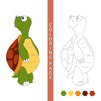 Páginas de libros para colorear para niños. tortuga de dibujos animados