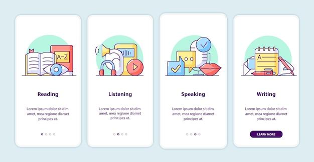 Páginas de la pantalla de la aplicación de incorporación del proceso de aprendizaje. tutorial de la aplicación de teléfono inteligente con ilustraciones de dibujos animados. plantilla de interfaz de usuario móvil con 4 pasos. diseño de interfaz de usuario con conceptos simples de color púrpura