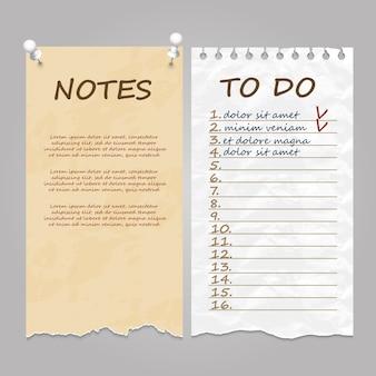 Páginas rasgadas para notas, notas y listas de tareas.