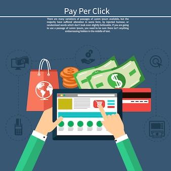 Pago por clic en el modelo de publicidad en internet cuando se hace clic en el anuncio. monitor con botón comprar estilo moderno de dibujos animados de diseño plano