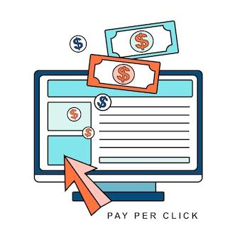Pago por clic en publicidad en internet en estilo de línea.