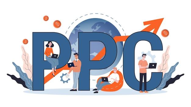 Pago por clic de publicidad ppc en internet. estrategia de marketing para promoción empresarial. paga el banner de la página web. ilustración en estilo de dibujos animados