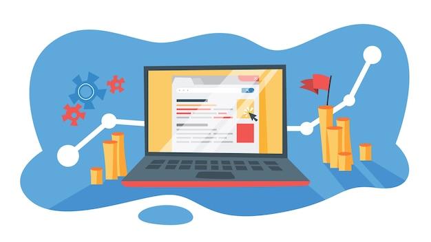 Pago por clic de publicidad ppc en internet. estrategia de marketing para promoción empresarial. paga el banner de la página web. ilustración