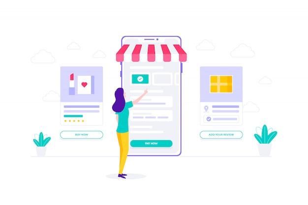 Pago electrónico de compras en línea compras ilustración plana