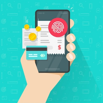 Pago de facturas en línea a través de tarjeta de crédito e identificación de huella digital táctil en teléfono móvil o concepto de pago digital electrónico en teléfono inteligente a través de huella digital plana