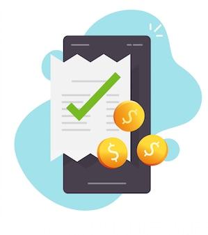 Pago de facturas en línea a través del teléfono móvil y contabilidad de facturación de recibos con dinero en la ilustración de dibujos animados plano de transacción de pago digital en efectivo del teléfono inteligente