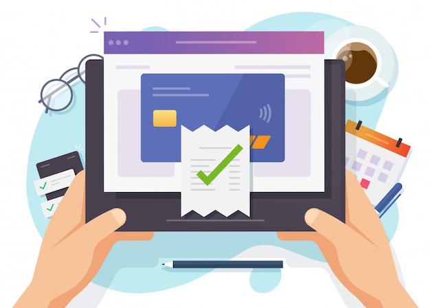 Pago de facturas pago completado en línea digital mediante tarjeta de crédito en computadora móvil electrónica