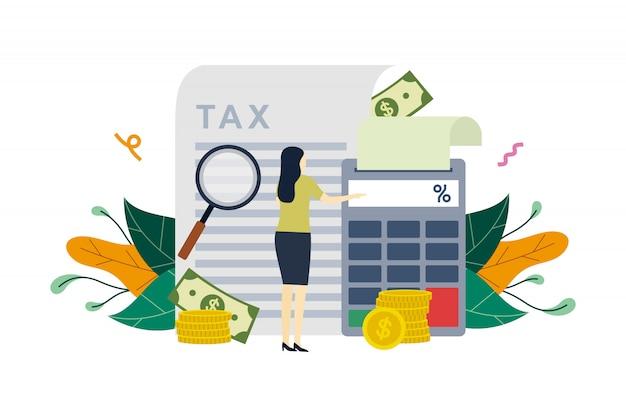 Pago de impuestos, cálculo de la declaración de impuestos, pago de deudas, deducción de impuestos ilustración plana