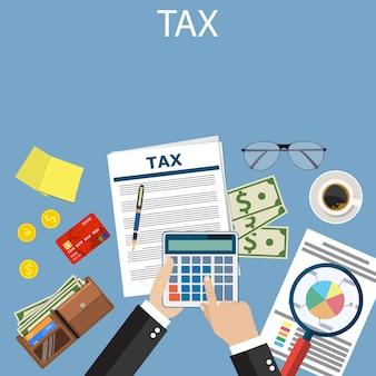 Pago de impuestos. impuestos del gobierno.