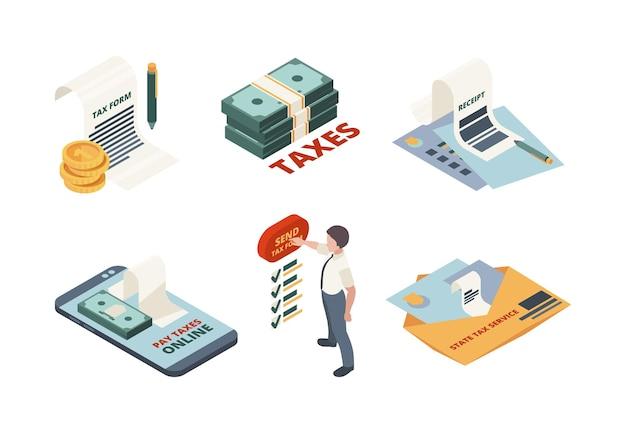 Pago de impuestos isométrico. ilustraciones de concepto de declaración de impuestos de declaración de contable de factura en línea de servicio legal.