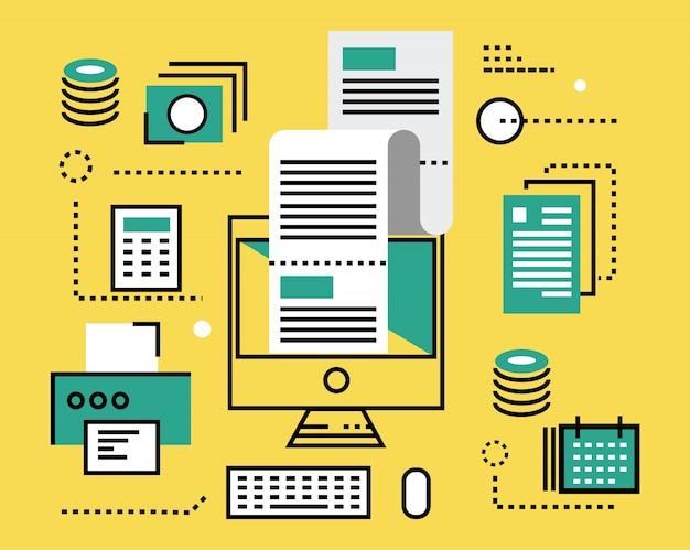 Pago de impuestos en línea. iconos de líneas planas e infografías. ilustración vectorial