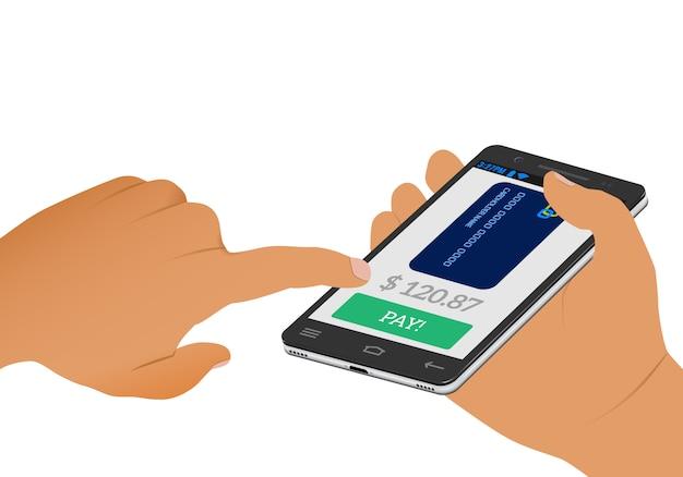 Pago inalámbrico pantalla de pago y tarjeta de crédito en un teléfono inteligente en mano humana.