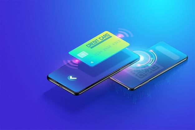 Pago isométrico a través de teléfono inteligente con el concepto de escaneo de código qr, recepción en línea y pago en línea. pago en línea fácil y más seguro vía la ilustración del vector 3d del carro de crédito.