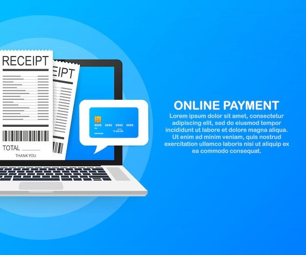 Pago en línea en computadora. contabilidad financiera, notificación de pago electrónico.