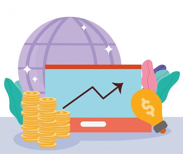 Pago en línea, creatividad mundial de monedas de laptop, compras en el mercado de comercio electrónico, ilustración de aplicaciones móviles