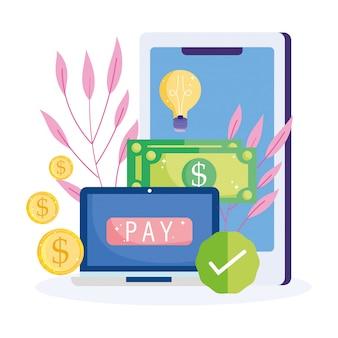 Pago en línea, dinero de billetes de computadora de teléfonos inteligentes, compras en el mercado de comercio electrónico, aplicación móvil