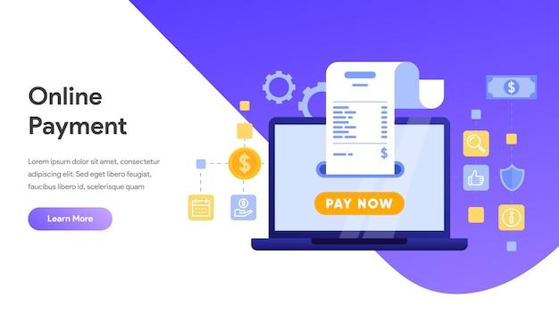 Pago en línea o concepto de transferencia de dinero para la página de destino, página de inicio, sitio web