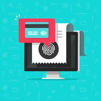 Pago en línea con tarjeta de crédito en computadora o tecnología inalámbrica de pago mediante huella digital