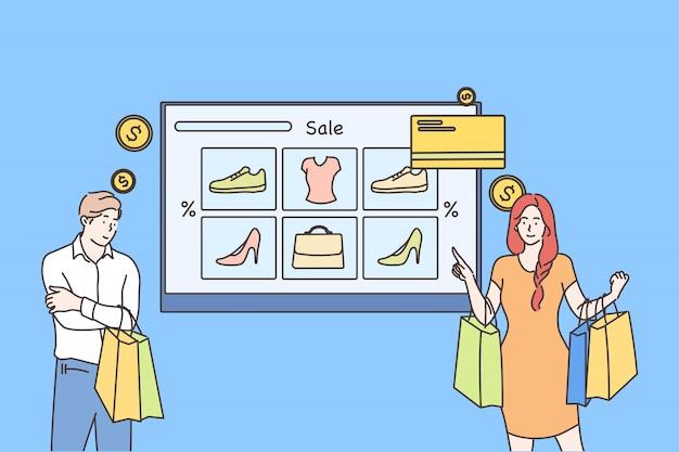 Pago en línea, tecnología, compras, concepto de venta