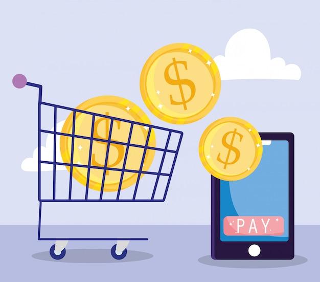 Pago en línea, teléfono inteligente y monedas en carrito de compras, mercado de comercio electrónico, ilustración de aplicación móvil