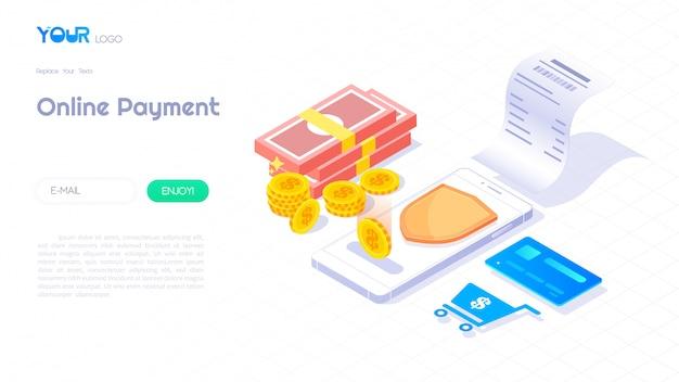 Pago en línea a través del concepto isométrico del teléfono inteligente, banner web de ilustración de facturación, vector de tecnología de pago seguro.