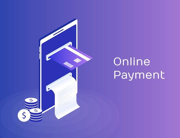 Pago por medio del teléfono móvil, pagos electrónicos en línea, monedero móvil, teléfono inteligente con cinta de cheques y tarjeta de pago. ilustración isométrica 3d moderna
