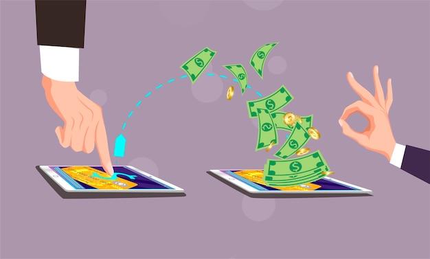 Pago móvil, el hombre hace clic con el dedo en la tableta de pantalla. hombre hace clic con el dedo