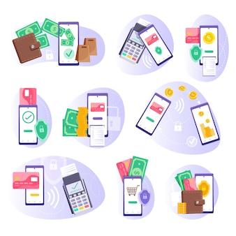 Pago movil. pago en terminal pos, transferencia de dinero por teléfono inteligente y juego de reemplazo de billetera electrónica. pago móvil y banca por internet, pago de finanzas comerciales, ilustración de transacciones en línea