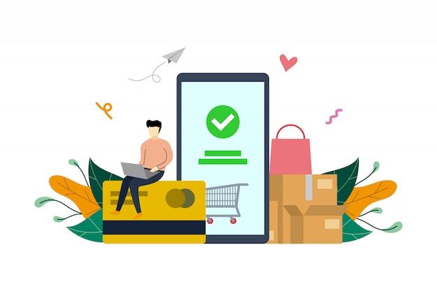 Pago móvil, plantilla de ilustración plana de pago en línea de compras en el mercado de comercio electrónico