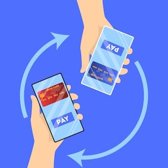 Pago móvil en smartphone. transacción de dinero digital a través de un dispositivo moderno. concepto de tecnología electrónica. ilustración en estilo de dibujos animados
