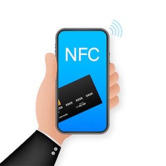 Pago movil. toca para pagar. icono de concepto de teléfono inteligente nfc. cerca de un campo de comunicación. ilustración.
