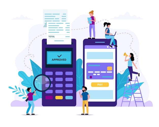 Pago móvil a través de teléfono inteligente. terminal pos y una aplicación de teléfono inteligente para el pago. gente pequeña haciendo varias tareas. ilustración en estilo plano