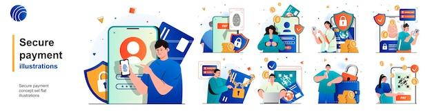 Pago seguro conjunto aislado protección de transacciones financieras y banca de escenas en plano