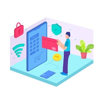 Pago con tarjeta bancaria pago plano débito minorista