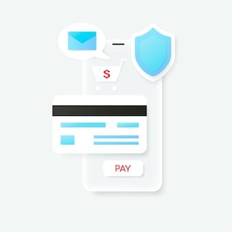 Pago con tarjeta de crédito mediante monedero electrónico. aplicación de banca móvil.