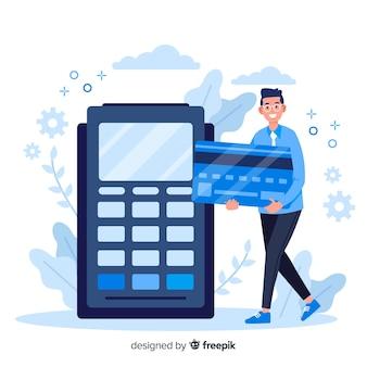 Pago con tarjeta de crédito de la página de inicio del concepto