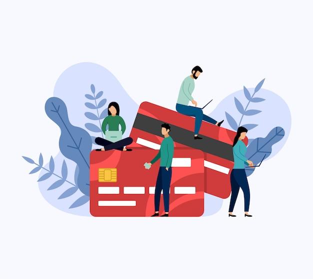 Pago con tarjeta de débito o crédito, concepto de negocio ilustración vectorial