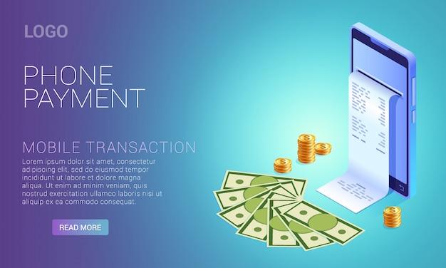 Pago por teléfono, concepto en línea, teléfono inteligente con dinero, monedas y cheque