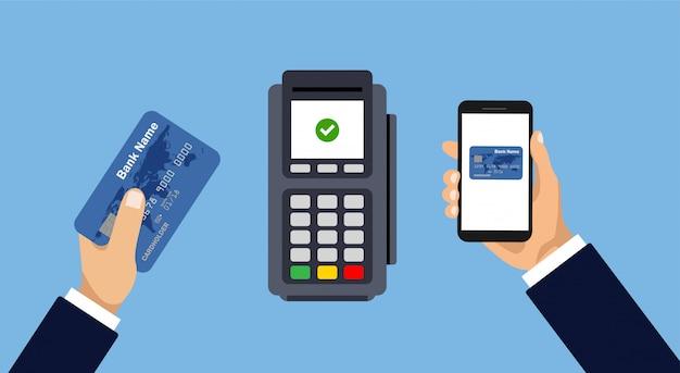 Pago por teléfono inteligente o tarjeta. pago móvil y sin contacto. pase de pago